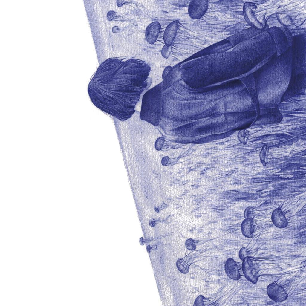 Ilustración realista a bolígrafo Bic azul de una chica en un campo de medusas