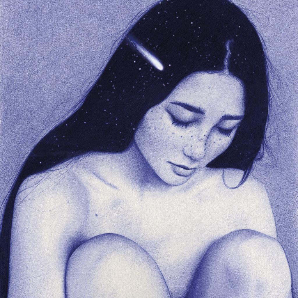 Ilustración realista a bolígrafo Bic azul de una chica sentada con estrellas en el pelo