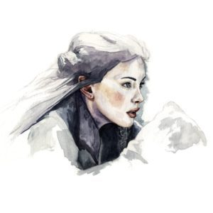 Ilustración en acuarela de Liv Tyler como Arwen en Lord of the Rings