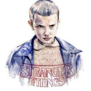 Ilustración en acuarela de Eleven en la serie Stranger Things