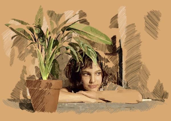 Ilustración digital de Natalie Portman en la película Léon: The professional