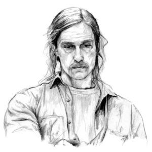 Retrato a lápiz de Matthew McConaughey como Rust Cohle en True Detective