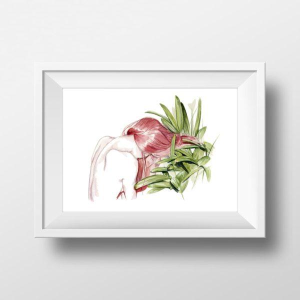 Mockups de una Ilustración en acuarela de una chica de espaldas y unas plantas