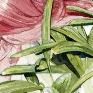Detalle de acuarela de una chica de espaldas y unas plantas