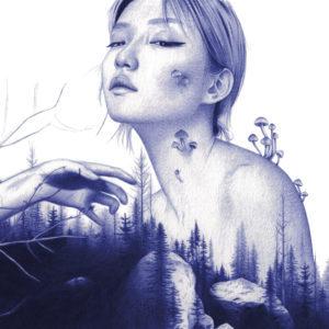 Ilustración realista a bolígrafo Bic azul de una chica asiática en el bosque