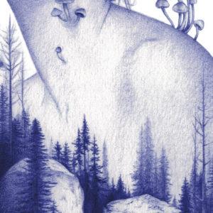 Detalle de ilustración realista a bolígrafo Bic azul de una chica asiática en el bosqueática en el bosque