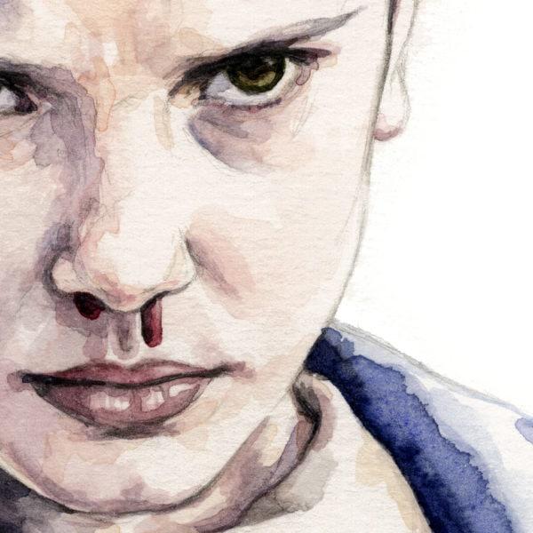 Detalle de una acuarela de Eleven en la serie Stranger Things
