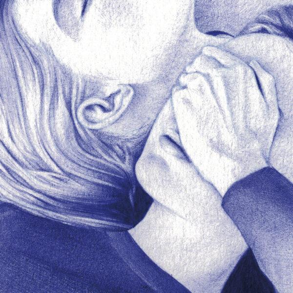 Detalle de ilustración realista a bolígrafo Bic azul de dos gemelas acostadas