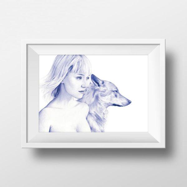 Mockup de ilustración realista a bolígrafo Bic azul de una chica con un lobo