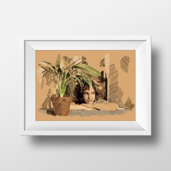 Mockup de ilustración digital de Natalie Portman en la película Léon: The professional