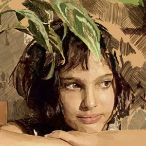 Detalle de ilustración digital de Natalie Portman en la película Léon: The professional