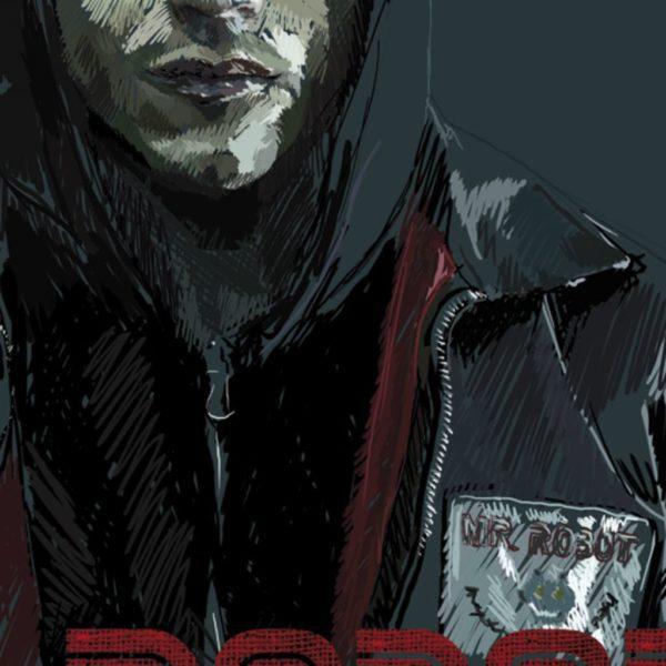 Detalle de ilustración digital de Rami Malek en la serie MR. Robot
