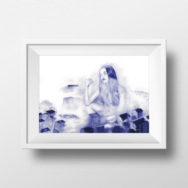 Mockup de ilustración realista a bolígrafo Bic azul de una chica sentada entre edificios nublados