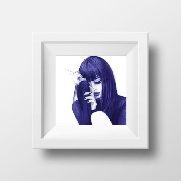 Mockup de ilustración realista a bolígrafo Bic azul de una chica fumando