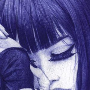 Detalle de ilustración realista a bolígrafo Bic azul de una chica fumando