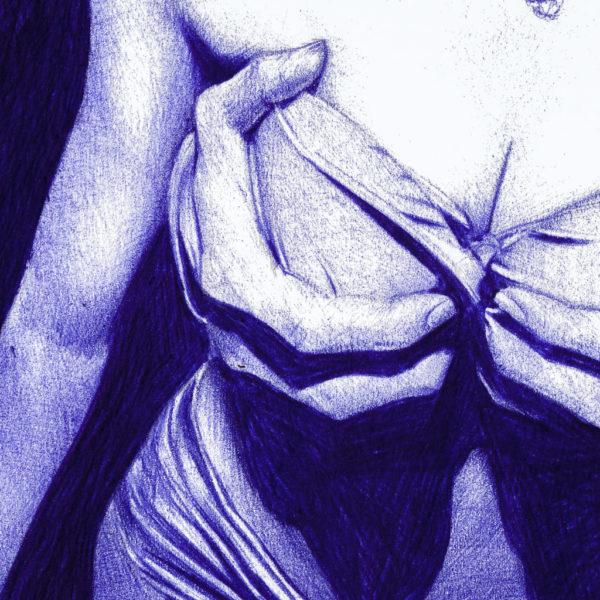 Detalle de ilustración realista a bolígrafo Bic azul de unas manos agarrando los pechos de una hica