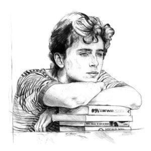 Retrato a lápiz de Timothée Chalamet como Elio en Call me by your name