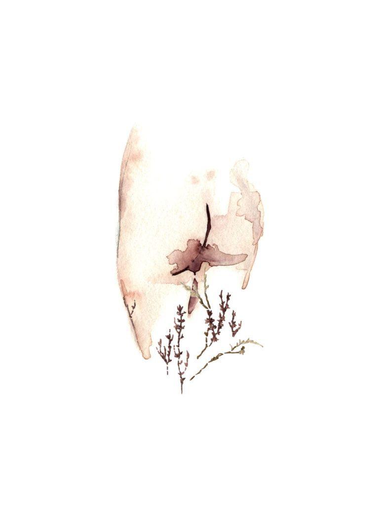 Acuarela de un culo con plantas bordadas