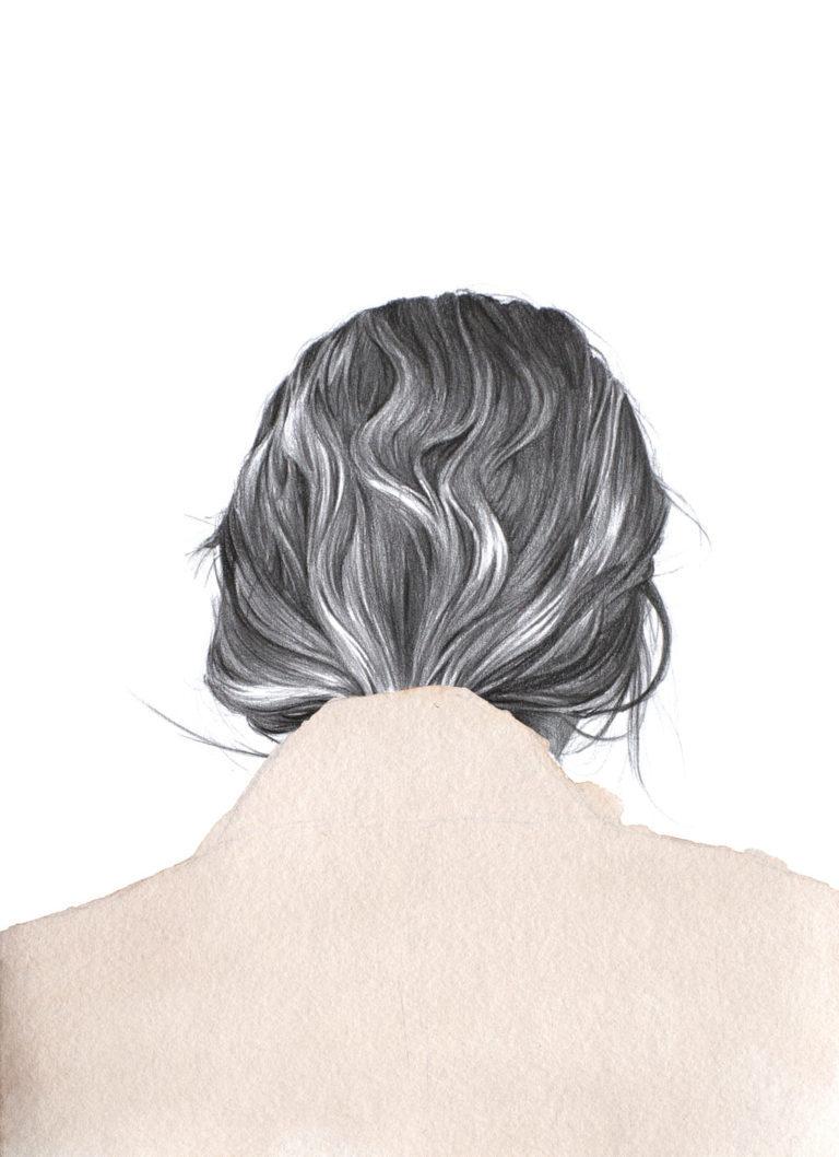 Ilustración a lápiz y acuarela de una chica de espaldas