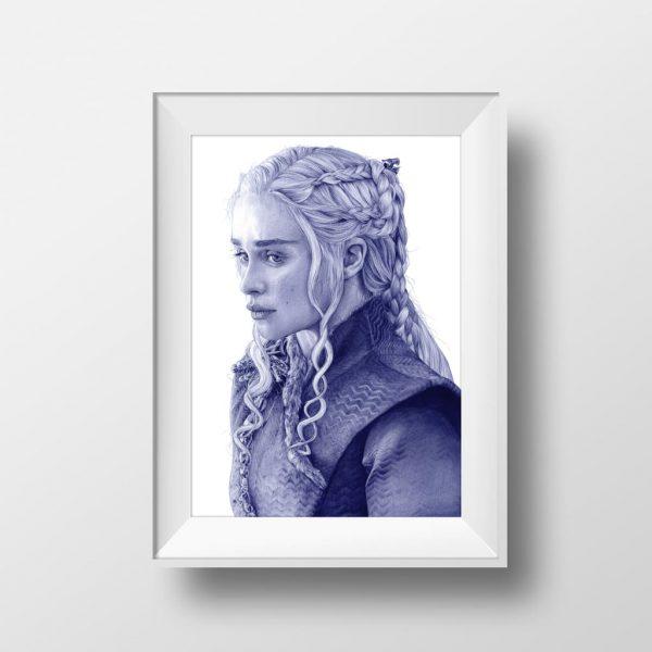 Mockup de una lustración a bolígrafo Bic de Emilia Clarke como Daenerys Targaryen en Game of Thrones