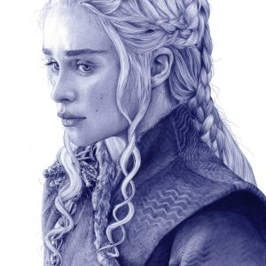 Ilustración a bolígrafo Bic de Emilia Clarke como Daenerys Targaryen en Game of Thrones