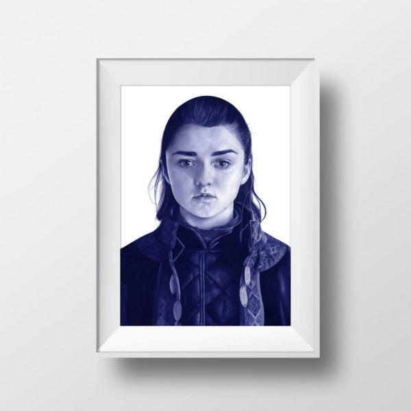Mockup de una ilustración a bolígrafo Bic de Maisie Williams como Arya Stark en Game of Thrones