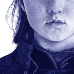Detalle de una ilustración a bolígrafo Bic de Maisie Williams como Arya Stark en Game of Thrones