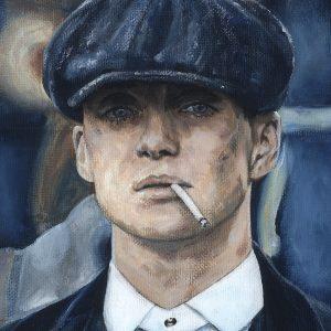 Pintura de Tommy Shelby en acrílico sobre lienzo