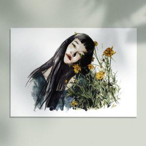 Mockup de una Ilustración en acuarela de una chica cubierta de flores amarillas