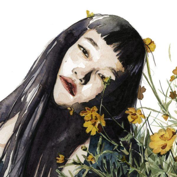 Detalle de una Ilustración en acuarela de una chica cubierta de flores amarillas