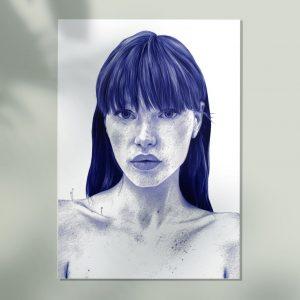 Mockup de una Ilustración realista a bolígrafo Bic azul de una chica con plantas que nacen de su cuerpo